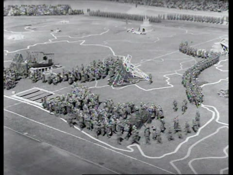 stockvideo's en b-roll-footage met olympisch stadion, people watching mass open-air show performed as part of memorial festivals commemorating liberation / amsterdam, noord-holland,... - 1946