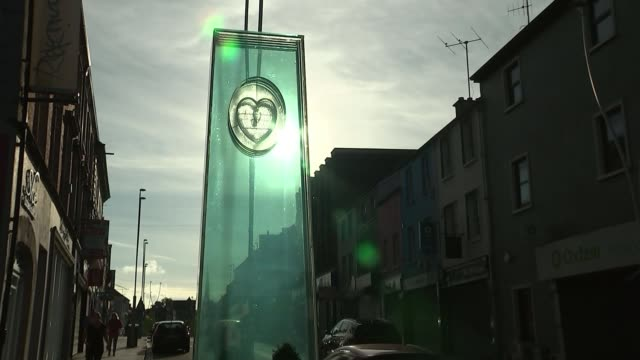 relatives remember loved ones NORTHERN IRELAND County Tyrone Omagh EXT Glass monument in high street memorial to Omagh Bombing victims