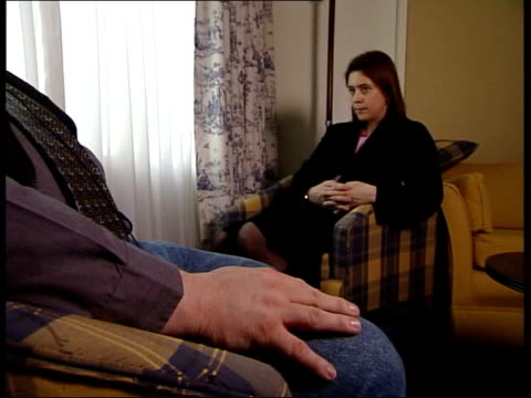omagh: seq tanya sillem sitting in room with british soldier who acted as a double agent in ira 'kevin fulton' interview sot - yes, no doubt / don't... - no doubt band stock videos & royalty-free footage