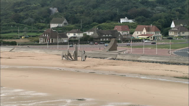 omaha beach  - aerial view - lower normandy, calvados, france - omaha beach stock videos and b-roll footage