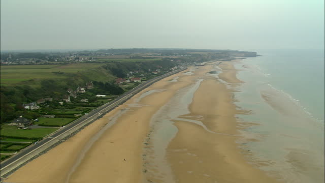 aerial, omaha beach, normandy, france - normandy stock videos & royalty-free footage