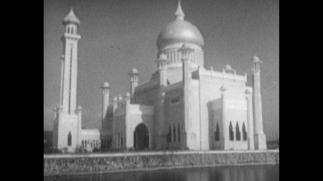 tu omar ali saifuddien mosque in bandar seri begawan, brunei; 1963 - 1963 stock videos & royalty-free footage