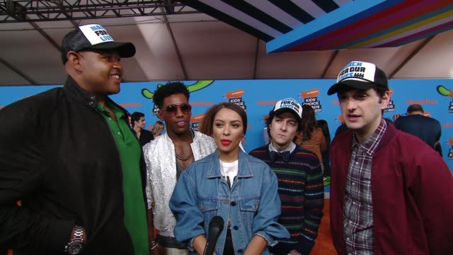 omar benson miller brandon mychal smith kat graham josh brener and ben schwartz on the excitement surrounding the kids' choice awards at the... - 31st annual nickelodeon kids' choice awards stock videos and b-roll footage