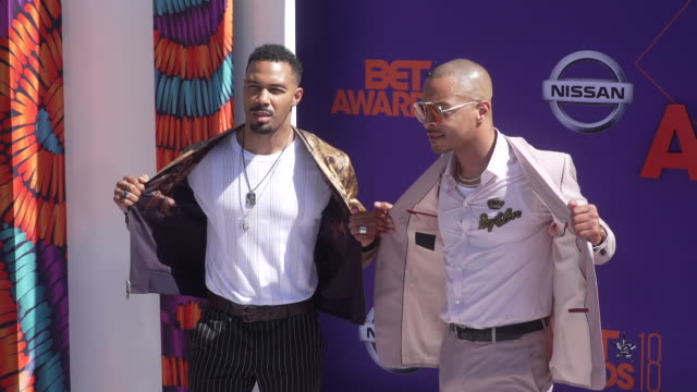 Omari Hardwick and TI at the 2018 BET Awards at Microsoft Theater on June 24 2018 in Los Angeles California