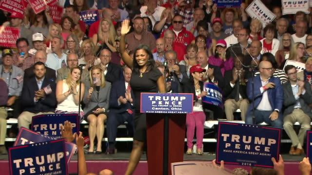 omarosa manigault rallies the crowd to support donald trump for president during a trump campaign rally in canton, ohio on june 15, 2016. - 2016 united states presidential election stock videos & royalty-free footage