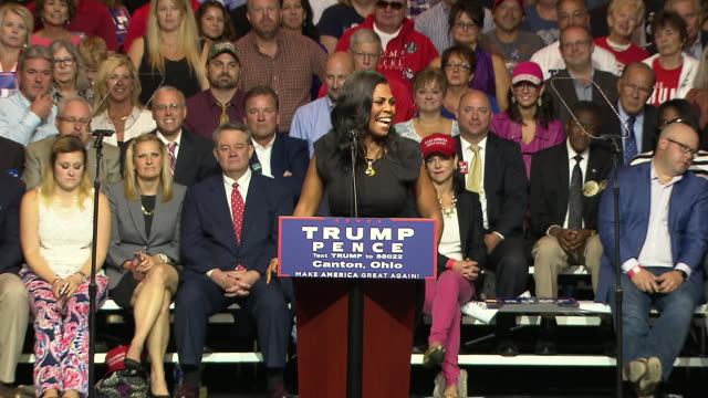 omarosa manigault speaks about donald trumpõs ability to see something that you canõt see in yourself during a trump campaign rally in canton, ohio... - omarosa manigault stallworth stock-videos und b-roll-filmmaterial