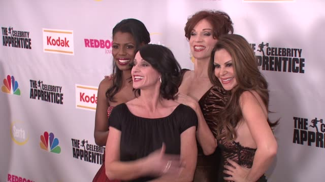 omarosa manigault stallworth marilu henner nely galan and nadia comaneci at the finale of 'the celebrity apprentice' at rockefeller center in new... - omarosa manigault newman stock videos & royalty-free footage