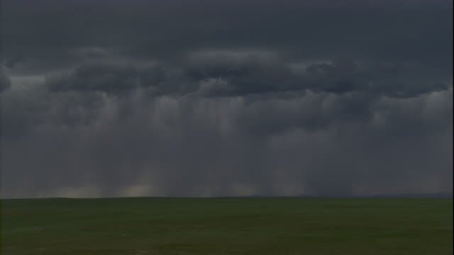 stockvideo's en b-roll-footage met ominous clouds dump rain across the steppes in mongolia. available in hd. - steppe