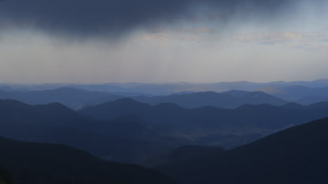 Ominous clouds move over the Greater Blue Mountains World Heritage Area in New South Wales, Australia (8x speed).