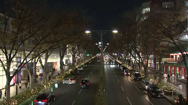 omotesando during covid-19 pandemic in evening, tokyo, japan - boulevard stock videos & royalty-free footage