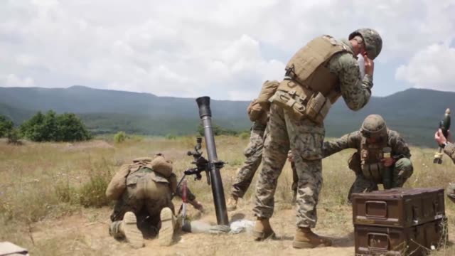 on 20 and 21 july 2014 the black sea rotational force 3rd battalion 8th marine regiment conducted 81mm mortar live fire missions with the conus based... - battalion stock videos and b-roll footage