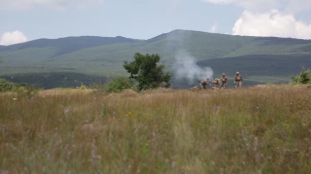 on 20 and 21 july, 2014 the black sea rotational force (3rd battalion, 8th marine regiment conducted 81mm mortar live fire missions with the conus... - firing squad stock videos & royalty-free footage