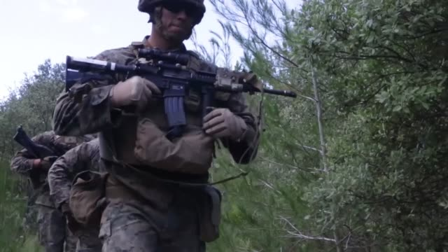 on 8 july, 2014 marines attached to special purpose marine air-ground task force crisis response from 3rd battalion, 8th marine regiment and... - infantry stock videos & royalty-free footage