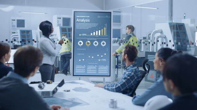 On a Meeting Chief Industrial Engineer Reports to a Group of Specialists, Managers, Uses Digital Whiteboard to Show Statistics with Graphs, Company Productivity Growth. Successful Industrial Factory