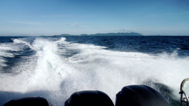 on a motorboat phi phi islands slow motion - motorboat stock videos and b-roll footage