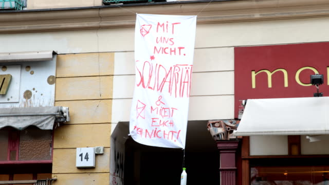 On a poster is written Mit uns nicht Solidarität Demo against the displacement of social institutions and places of education and kindergartens on...