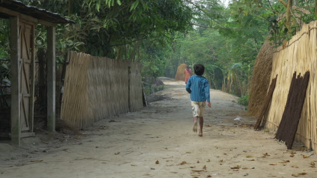 on a small road of a village on the banks of river jamuna in rural bangladesh children play amongst goat kids and chickens - dhaka stock-videos und b-roll-filmmaterial