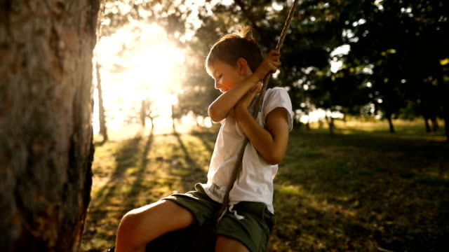 on a tire swing - rope swing stock videos & royalty-free footage