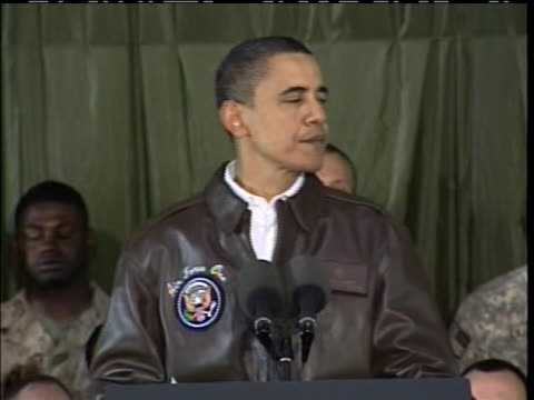 on a visit to afghanistan, president obama tells troops that his greatest honor is serving as their commander-in-chief, and he thanks them on behalf... - bagram air base stock-videos und b-roll-filmmaterial