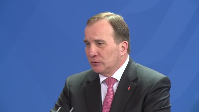 on a visit to berlin swedish prime minister stefan lofven says his country will try to serve as a facilitator between north korea and the west after... - primo ministro video stock e b–roll