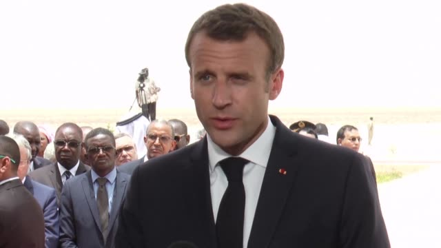 on a visit to the mauritanian capital french president emmanuel macron talks about the fight against terrorism as several deadly attacks hit mali and... - nouakchott stock videos & royalty-free footage