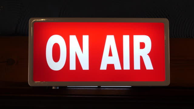 4k: on air sign switching on in studio - radio broadcasting stock videos and b-roll footage