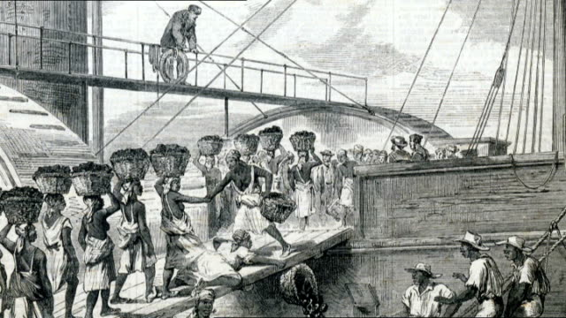 caribbean countries demand reparations from european nations over slavery **shepherd interview overlaid sot** drawing of slaves loading coal in 18th... - slavery stock videos & royalty-free footage
