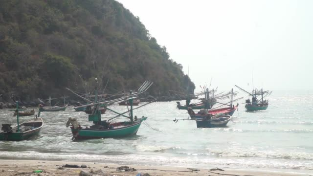 on ban krut beach with fishermen walking through the surf flags on boats ctach is mainly squid - surf fishing stock videos & royalty-free footage