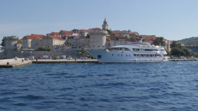 On board boat approaching Korcula, Korcula Island, Dalmatia, Croatia, Europe