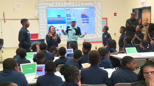 wgn on dec 6 chance the rapper crashed a computer coding class at chicago south side school adam clayton powell jr paideia academy to announce... - adam clayton powell jr stock videos & royalty-free footage