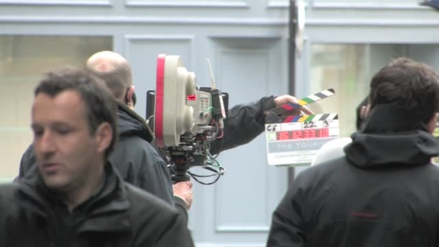 we spotted the american actress angelina jolie on the set of the tourist for the 3rd day of filming in paris she was on place des victoires for ather... - brad pitt actor stock videos & royalty-free footage
