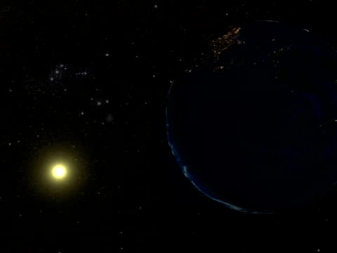 On Friday, 2008 August 01, a total eclipse of the Sun visible from within a narrow corridor that traverses half the Earth. Animation shows the Moon passing between the Earth and Sun.