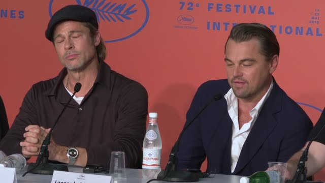 on his character rick dalton at 'once upon a time in hollywood' press conference - the 72nd cannes film festival at palais des festivals on may 22,... - 俳優 ブラッド・ピット点の映像素材/bロール
