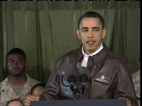 on his first trip to afghanistan as president, barack obama pledges to take care of veterans and military families. - (war or terrorism or election or government or illness or news event or speech or politics or politician or conflict or military or extreme weather or business or economy) and not usa stock videos & royalty-free footage