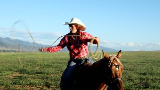 vídeos y material grabado en eventos de stock de a caballo soga trucos lasso - lazo nudo