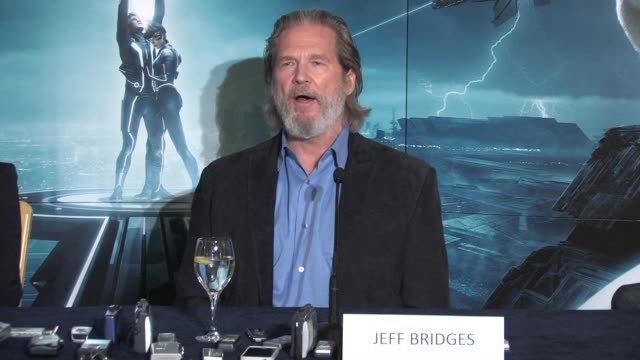 on how the 'real him' views the 'fictional younger him' and how his character was created at the Tron Legacy Press Conference INTERVIEW Jeff Bridges...