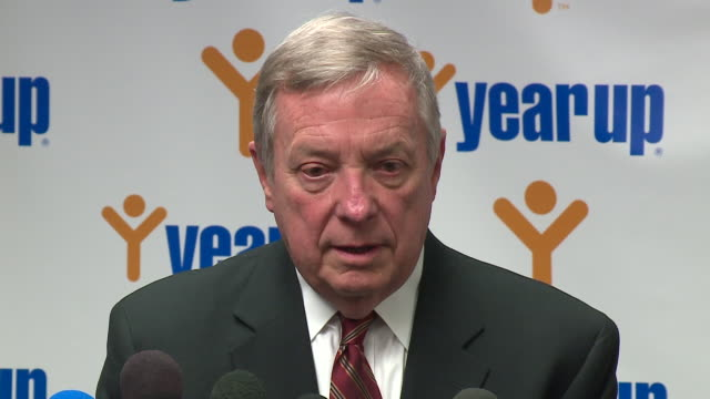 """wgn on jan 12 illinois senator dick durbin stood by his account of president trump's comments referring to immigrant nations as """"shithole countries""""... - dick durbin stock videos & royalty-free footage"""