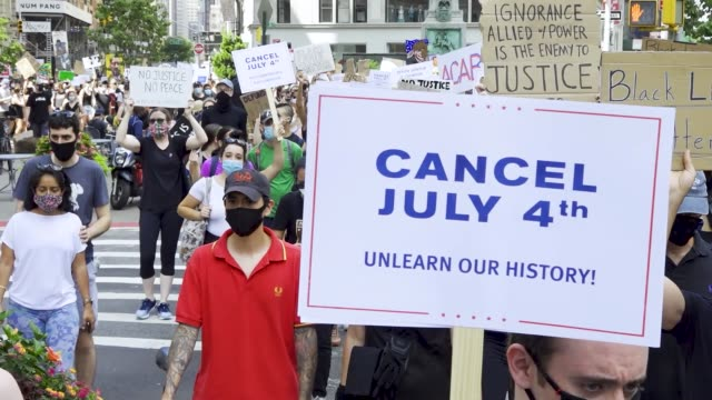 on july 4 anti-4th of july activist rally at madison square park in downton manhattan. the event was organized by freedom march nyc a protest group... - fourth of july stock videos & royalty-free footage