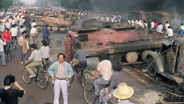 on june 4 china's government sent tanks and troops into tiananmen square, the symbolic heart of chinese power - tiananmen square stock videos & royalty-free footage