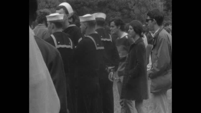 On leave sailors take in the Human BeIn staged on the summer solstice of 1967 in Golden Gate Park during the Summer of Love