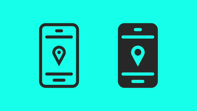 gps on mobilephone - vector animate - posizione descrittiva video stock e b–roll