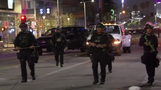 on october 11, 2020 lakers fans clashed with police as they took to the streets to celebrate the team's championship win in nba finals. cops... - team photo stock videos & royalty-free footage