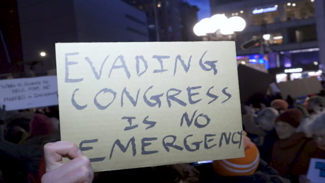 on president's day protesting donald trump's national emergency declaration to build a wall along the southern border of the united states and the... - other stock videos and b-roll footage
