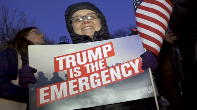 On President's Day protesting Donald Trump's national emergency declaration to build a wall along the Southern border of the United States and the...