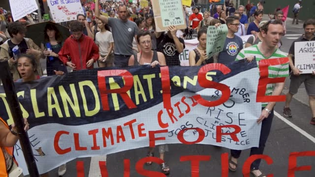 On September 06 demonstrators rallied at lower Manhattan's Batter Park a weekend before the Global Climate Action Summit in San Francisco scheduled...