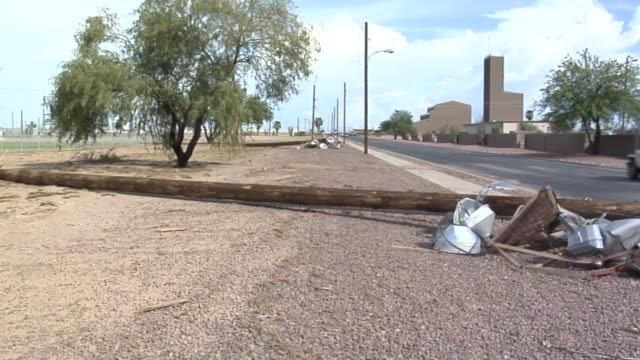 on sunday july 13th a monsoon hit davismonthan air force base the high winds and strong rain damaged light poles cars buildings and trees airmen... - condizione negativa video stock e b–roll