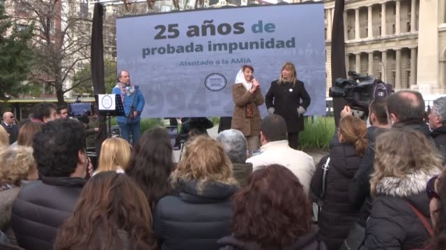 on the 25th anniversary of the bomb attack on the argentine israelite mutual association the group active memory remembers their dead and demands... - israelite stock videos & royalty-free footage