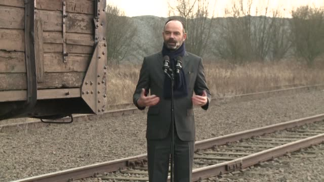 on the 75th anniversary of the liberation of auschwitz birkenau french prime minister edouard philippe accompanied by two former prisoners visits the... - visit stock videos & royalty-free footage