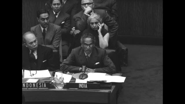 vídeos de stock e filmes b-roll de on the day that the un political committee overwhelmingly approves the india korea plan, sot indian un ambassador v. k. krishna menon speaks from... - krishna menon