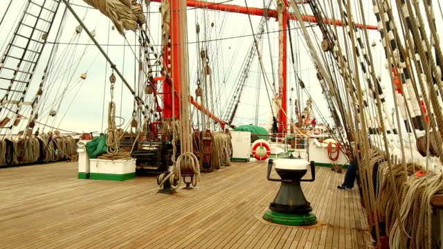 on the deck of an old sailing vessel - mast sailing stock videos & royalty-free footage